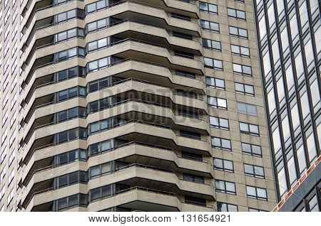 Architectural background Windows and balconies of  NYC Buildings