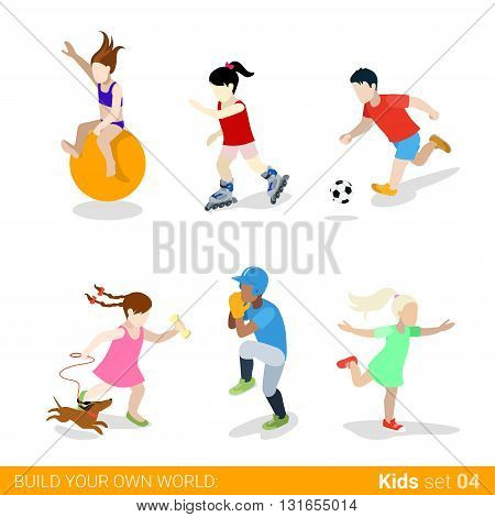 Active sports teenagers children flat web infographic concept vector icon set. Ball jumping gymnastics skating soccer baseball dancing dog walking. Creative people collection.