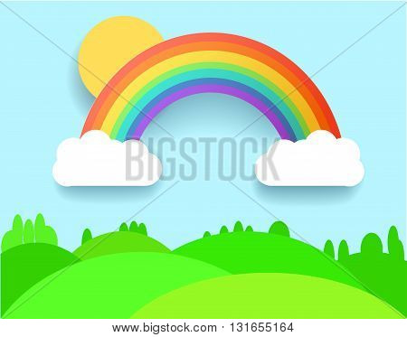 Colorful Rainbow With Clouds Grass and Field. Vector Lanscape Illustration.