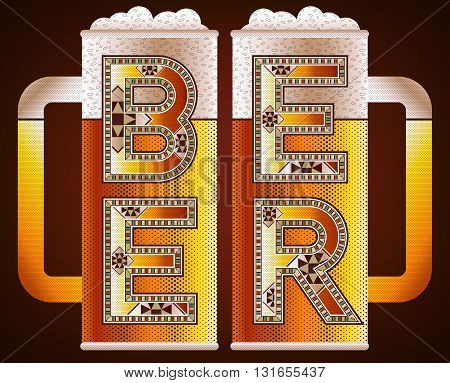 BEER Pints Illustration With Block Decorative Typography