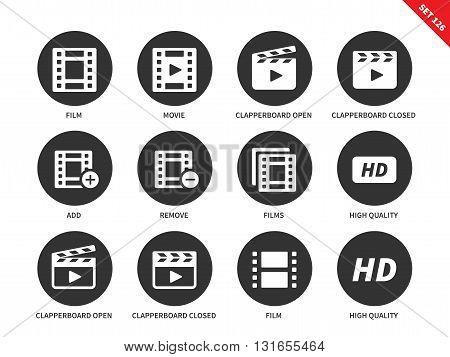 Video vector icons set. Film industry and media concept, filming equipment. Film, movie, clapperboard open and closed, add, remove, hd,  Isolated on white background