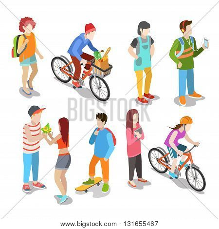 Active urban young casual street people flat 3d isometric web infographic concept vector icon set. Creative people collection.