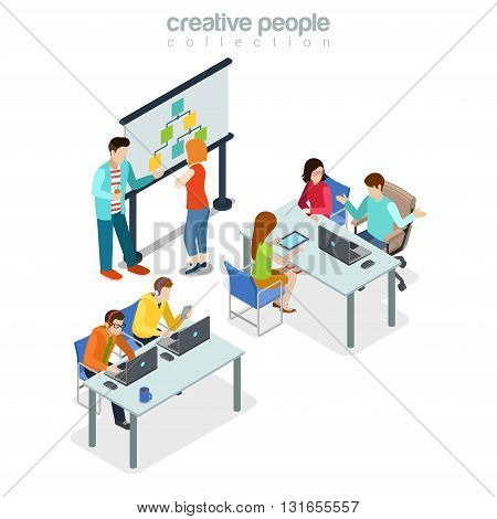 Coworking presentation meeting office interior indoor concept. Flat 3d isometry isometric style web site app icon set concept vector illustration. Creative people collection.