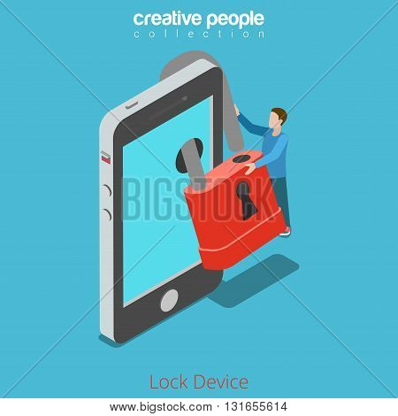 Lock your device secure content concept. Micro man locking lock over smartphone screen. Flat 3d isometry isometric style web site app icon set concept vector illustration. Creative people collection.
