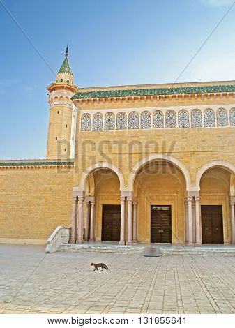Building of a mosque is named after the first President Habib Bourguiba in center of Monastir city, Tunisia