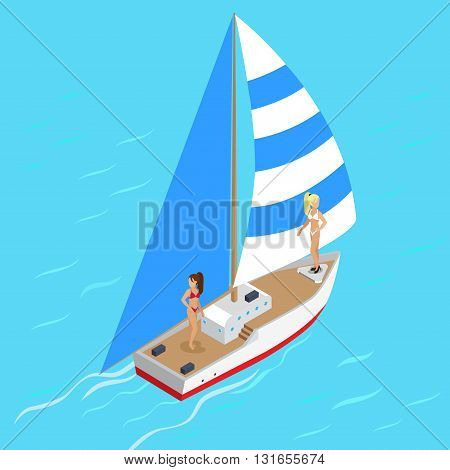 Yachting  yacht with sexy supermodel girls concept. Flat 3d isometry isometric style web site app icon set concept vector illustration. Creative people collection.