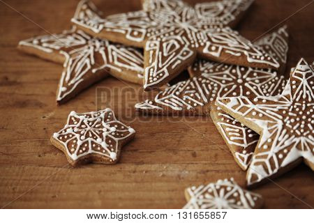 beautiful ginger bread on wooden desk.