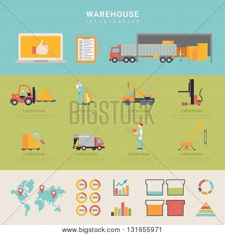 Warehouse infographics storage delivery shipping transportation business info graphic. Flat style web site app icon set concept vector illustration. Creative trendy collection.