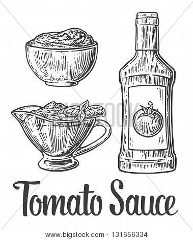 Ketchup bottle tomato sauce in a plate. Vector vintage engraved illustration.