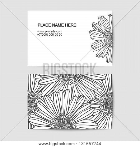 visiting card template with chamomile linear flowers