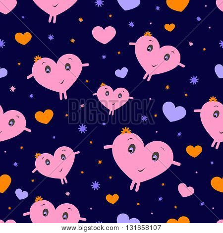 Seamless texture with colored hearts on a dark blue background.