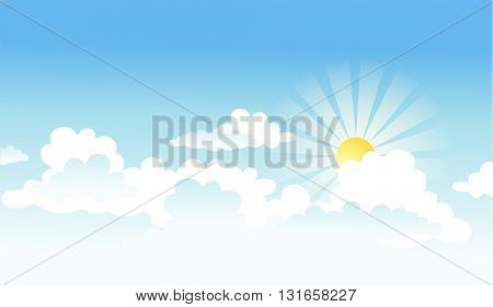 Vectorial background with the sun and clouds