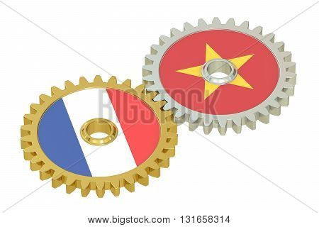 France and Vietnam relations concept flags on a gears. 3D rendering isolated on white background