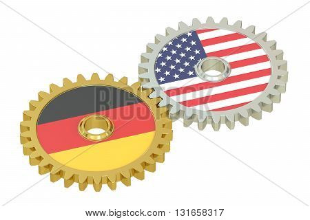 Germany and United States relations concept flags on a gears. 3D rendering isolated on white