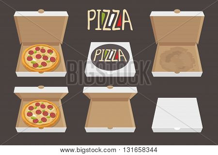 The whole pizza in the opened and closed cardboard box. Delivery. Set isolated vector Flat style illustration.