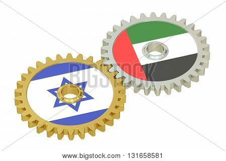 UAE and Israel flags on a gears 3D rendering isolated on white background