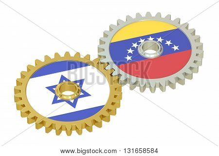 Venezuela and Israel flags on a gears 3D rendering isolated on white background