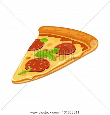 Slice of pizza pepperoni. Isolated vector flat illustration for poster menus logotype brochure web and icon. White background