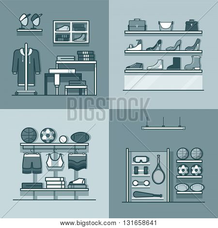 Boutique clothes clothing accessory shoes sports inventory tool shop store interior indoor set. Linear stroke outline flat style vector icons. Monochrome icon black and white collection.