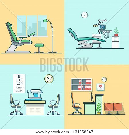 Gynecological gynecology dentist oculist eye doctor office hospital medicine woman healthcare room interior indoor set. Linear multicolor stroke outline flat style vector icons. Color icon collection.