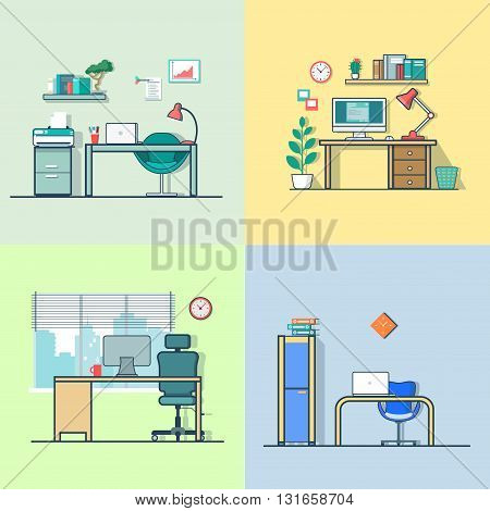 Office room workplace table chair interior indoor set. Linear multicolor stroke outline flat style vector icons. Color icon collection.