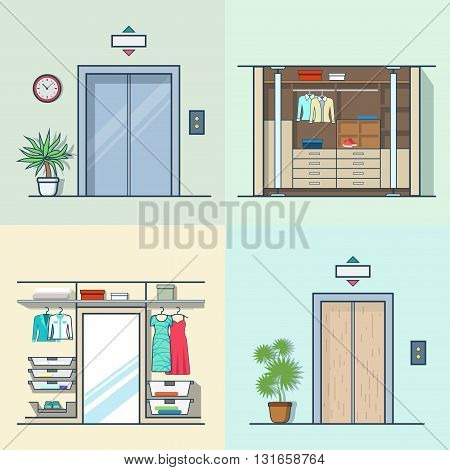Wardrobe dressing room interior indoor elevator entrance door hall lift corridor set. Linear multicolor stroke outline flat style vector icons. Color icon collection.