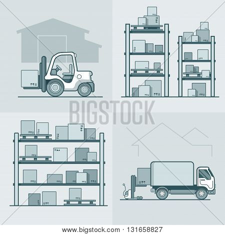 Warehouse rack shelving loader box loading van set. Storage business concept. Linear stroke outline flat style vector icons. Monochrome icon collection.