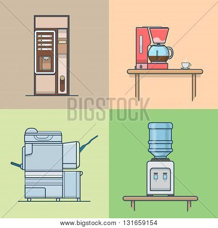 Office kitchen technical room interior indoor set. Linear stroke outline flat style vector icons. Color coffee cooker vending machine multifunction copier water cooler icon collection.