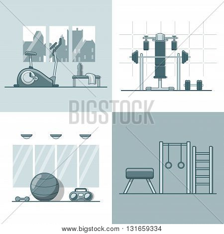 Gym exercise equipment room interior indoor set. Linear stroke outline flat style vector icons. Monochrome cycle bike power weight lifting gymnastics rings ball wall bars icon collection.