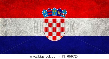 National flag of Croatia with a vintage textured treatment