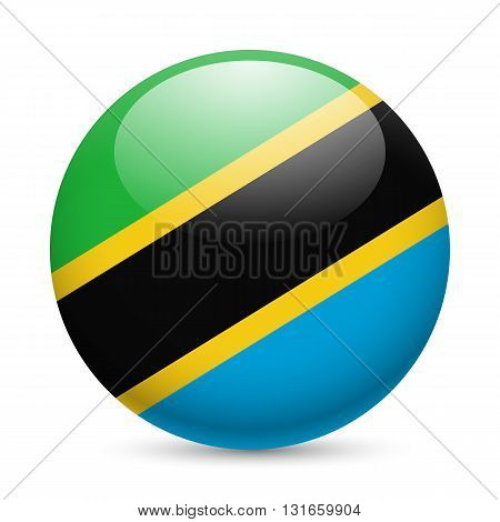 Flag of Tanzania as round glossy icon. Button with Tanzanian flag