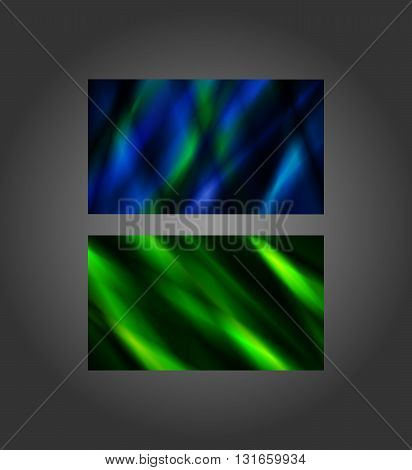 Blue and Green abstract banners 2x3.5 inches business card size.