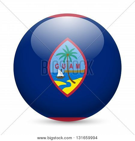 Flag of Guam as round glossy icon. Button with flag design
