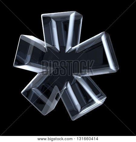 Transparent x-ray asterisk symbol. 3D render illustration on black background