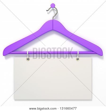 Purple hanger with blank tag. 3D render illustration isolated on white background