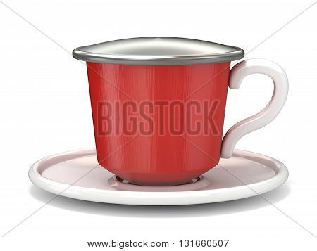 Red coffee capsule 3D render illustration isolated on white background