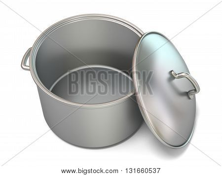 Steel cooking pot opened. 3D render illustration isolated on white background