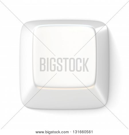 White empty computer key. Top view. 3D render illustration isolated on white background