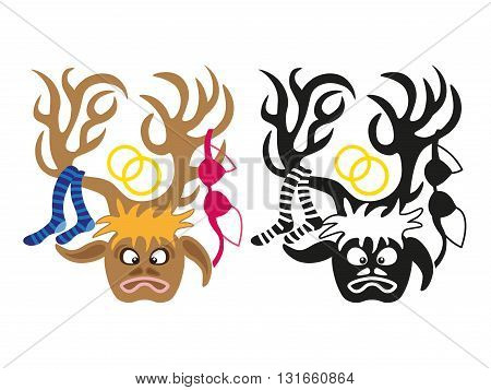 image of man with deers head and lingerie items on horns