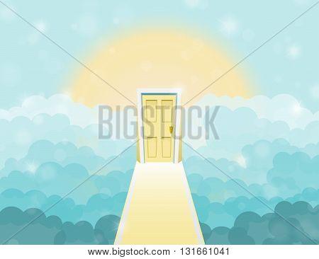 Cartoon Door To Heaven In The Sky. Vector Illustration