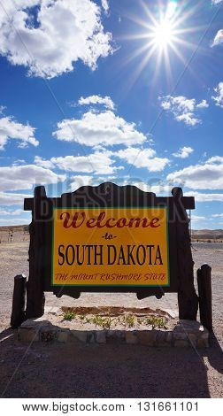 Welcome To South Dakota Road Sign