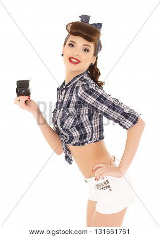 Young Woman With Retro Camera.