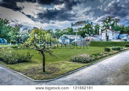 Zagreb botanic garden few seconds before storm, Croatia.