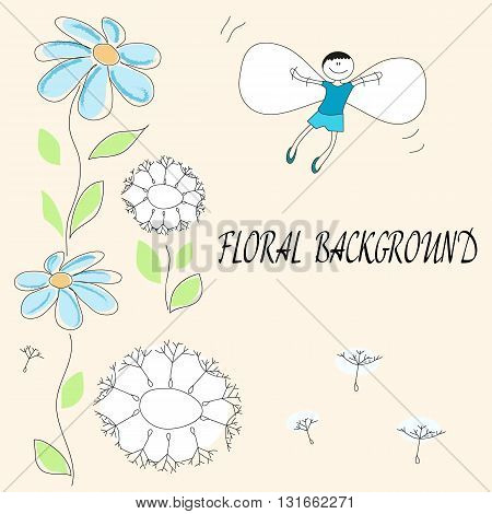 Vector drawing of flowers and flying baby