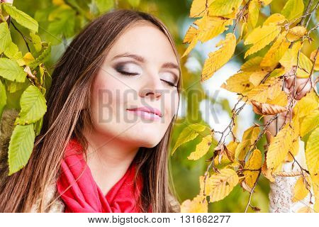 Woman Fashion Girl Relaxing Walking In Autumnal Park
