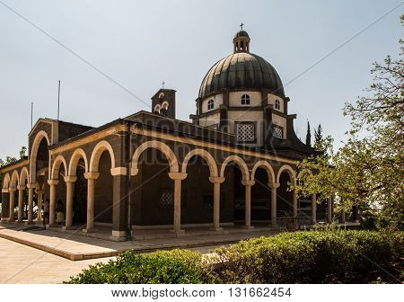 Catholic chapel on Mount of Beatitudes near Tabgha at the Sea of Galilee Israel