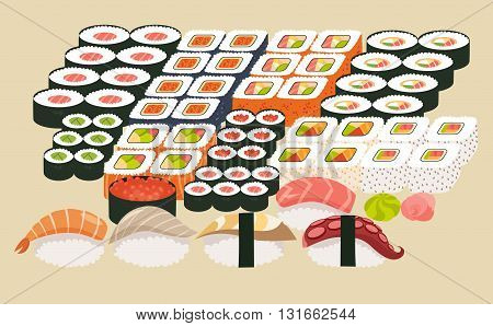 Sushi and sashimi set.Shrimp sushi octopus sushi salmon fish Tuna sushiAcne Sushi roll caviar.