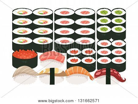 Sushi and sashimi set.Shrimp sushi octopus sushi salmon fish Tuna sushiAcne Sushi roll caviar.Japanese asian restaurant food cartoon style.Vector illustration isolated on white background flat