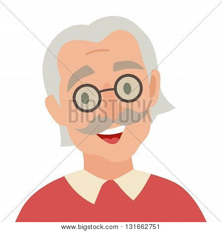 Old man icon vector. Man icon illustration. Face of old man icon. Face of elder people icons cartoon style. Pensioner people head flat icons. Isolated avatar on white background