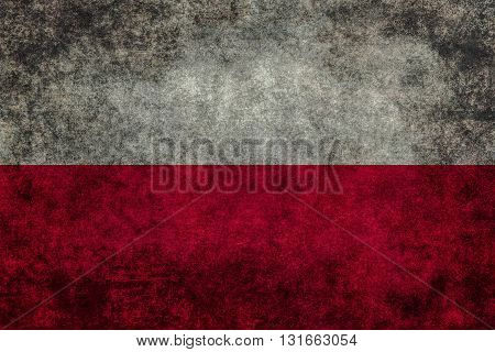 Polish national flag with a vintage textured treatment
